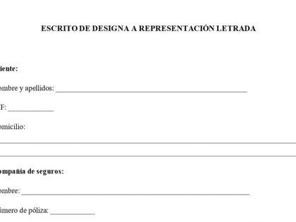Modelo de escrito de designa para reclamaciones a seguro
